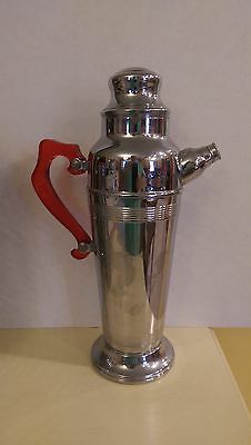 "Vintage Chrome Cocktail Server/Shaker - 13""  Tall - Red Translucent Plastic Hand"