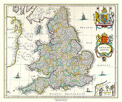 MAP OF England 1635 by Willem and Johan Blaeu
