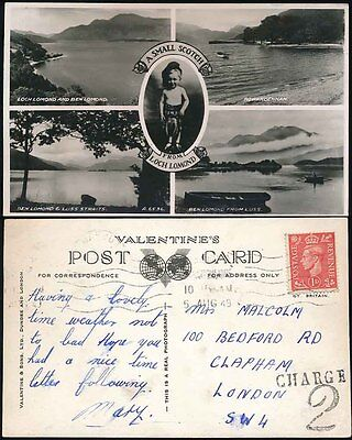 POSTAGE DUE GB CHARGE 2 ARCHAIC HANDSTAMP USED on 1946 SCOTLAND PPC to CLAPHAM