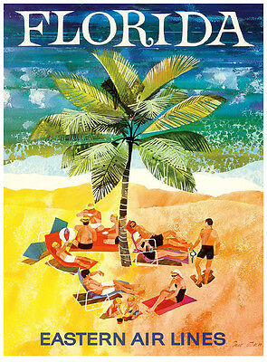 TRAVEL TOURISM MIAMI FLORIDA USA PALM TREE SUN ART POSTER PRINT LV4222