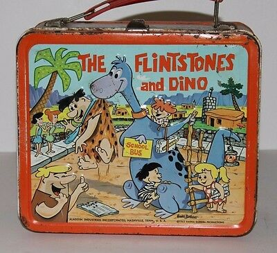 Vintage Metal Lunchbox 1962 The Flintstones And Dino