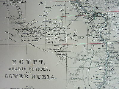 1910 Map ~ Egypt Arabia Petraea Lower Nubia Bahaira Nile Delta Cairo