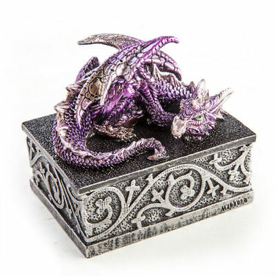 Purple Dragon Statue Trinket Jewellery Small Box Gothic Fantasy