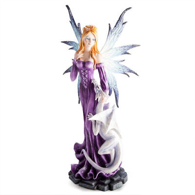 Large Fairy Purple Dress with Dragon Collectable Figurine Statue Fantasy