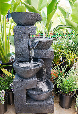 Outdoor Garden Patio Water Feature Cascading Cup 4 Tier Fountain Charcoal Black