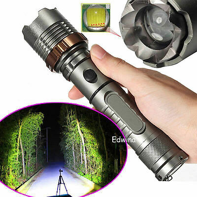 8000LM XM-L T6 LED Rechargeable Zoomable Focus Flashlight 18650 Torch Lamp