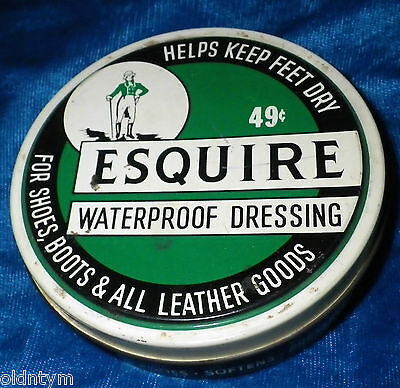 Vintage Esquire Tin Waterproof Dressing Shoes Boots Knomark Equestrian Theme