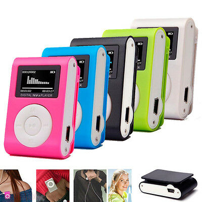 Stylish USB Mini Clip MP3 Music Player LCD Screen Support 32GB Micro SD TF Card