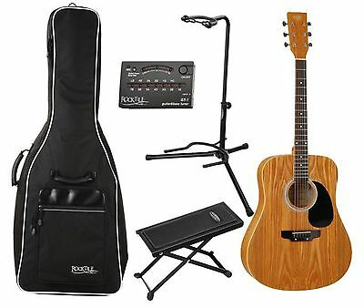 Set Chitarra Folk Acustica Dreadnought Western Microfono Supporto Borsa Marrone