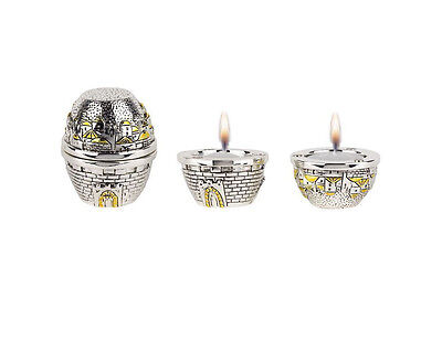 Judaica Shabbat  Jerusalem Travel Candlesticks in Silver and Gold Jewish Gift