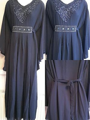 Womens Ladies New Abaya Jilbab Long Dress Kaftan Diamante Detail Plus Size