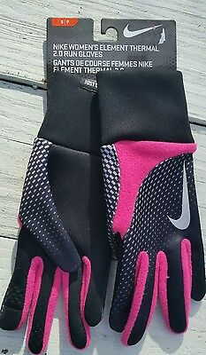Nike Womens Element Thermal 2.0 Run Gloves Size Small Hot Pink/Black Touchscreen