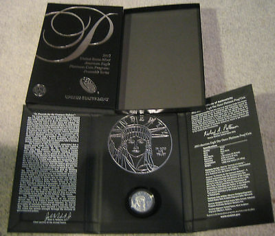 2012 $100 Platinum Proof Eagle coin in original box w/ sleeve great shape