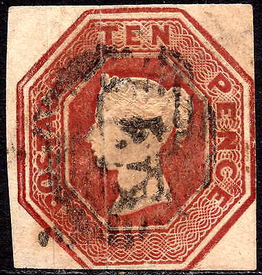 GB QV 1847 10d Brown SG57 Embossed Issue Good Used Cut Square Die 2