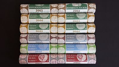 2003 2004 2005 2006 - 12 Westward Journey Us Mint Wrapped Nickel Rolls
