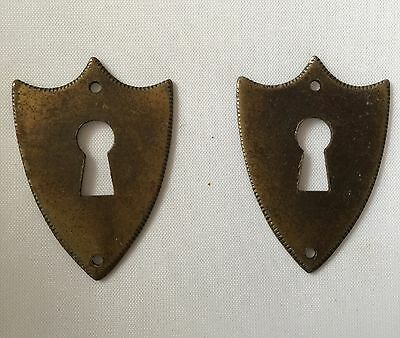 Antique Salvage Lot Of Solid Brass Cabinet Drawer Key Cover Plates