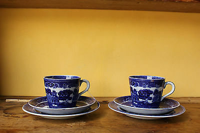 Vintage Adderley Ware Old Willow. Pair of Trio's.