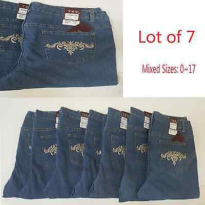 Lot of 7 Women JEAN Pants T&Y Plus Size Blue Denim Wholesale Mix Size Lot 17~24