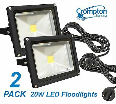 2 x Crompton 20W LED Outdoor Security Floodlight IP65 with Cord & Plug