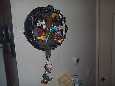 Extremely Rare! Walt Disney Donald Duck, Mickey Mouse and Goofy Big Wall Clock