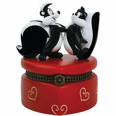Looney Tunes Pepe Le Pew and Penelope 3.5'' Hinged Jewelry Box, NEW UNUSED