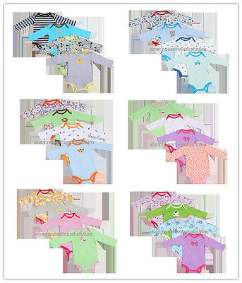 New 5pcs pack Long Sleeved Baby Jumpsuit Infant Cartoon Bodysuits Clothes