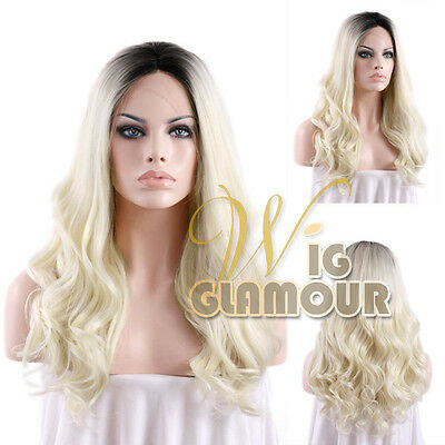 "Long Curly 24"" Light Blonde with Black Roots Lace Front Synthetic Wig"