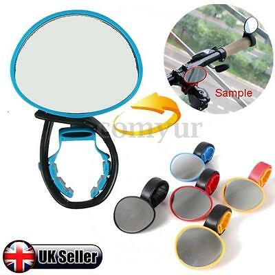 Bike Bicycle Cycling Handlebar Rearview Mirror 360° Rotate Flexible Rear view UK