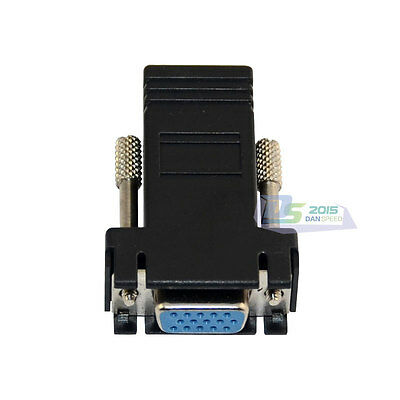 RJ45 Female To DB15 Pin Female Connector Jack For PC TV DVR Projector Monitor
