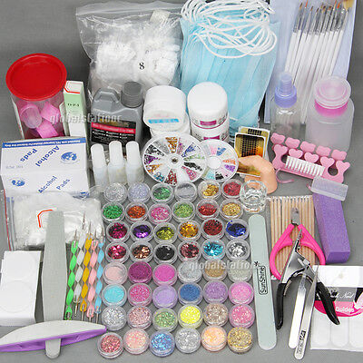 All in 1 Nail Art Set Acrylic Powder UV Gel Manicure DIY Tips Polish Brush Kit