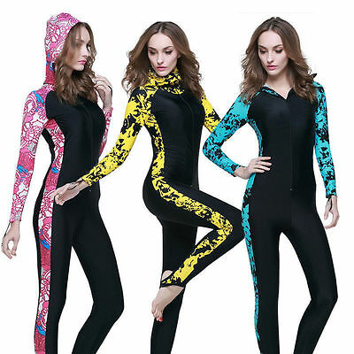 Woman Snorkeling One Piece Swimwear Lycra Long Sleeve UV Protection Rash Guards