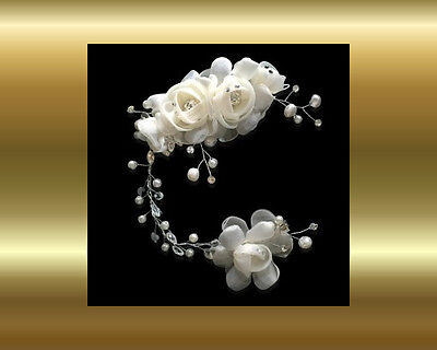 Bridal Hair piece / clip / Ivory flowers, lace pearls & beads - Wedding, formal