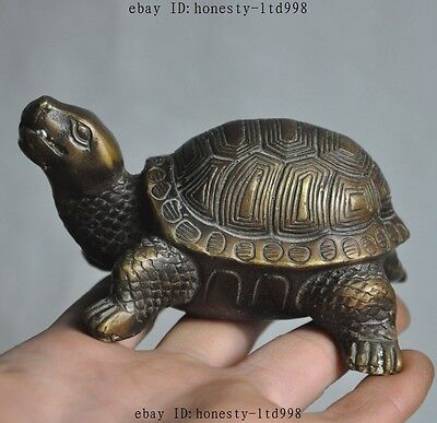 Old Chinese Folk Fengshui Bronze Longevity Animal Lucky Turtle Tortoise Statue