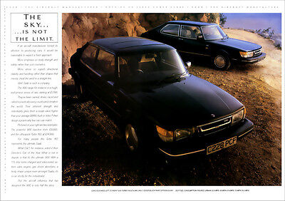 SAAB 900 TURBO 16S & 900i RETRO A3 POSTER PRINT FROM CLASSIC 80'S ADVERT