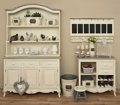 Shabby Chic Antique Style Cream Large Kitchen Dresser Cottage Country H7979