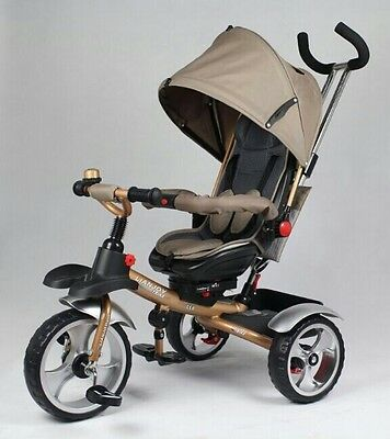 3 Wheele Tricycle Ride On Toy Baby Toddler Pram Stoller Jogger Car Gold 2016