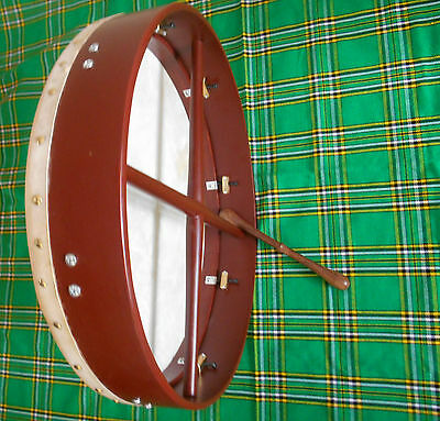"Brand New Irish Bodhran Rose Wood 18"" x 3.1/2"" Tunable Drum"