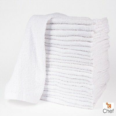 24 NEW COTTON WHITE TERRY CLOTH RESTAURANT BAR MOPS PREMIUM KITCHEN TOWELS 34oz