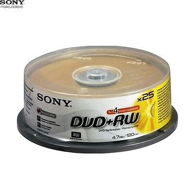 SONY DVD+RW 4.7GB 4x Speed 120min Rewritable DVD Disc Spindle Pack 25 (25DPW47SP