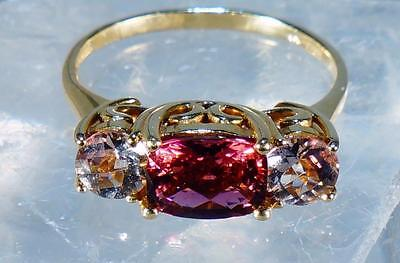 Gorgeous Vintage Pink and White CZ Yellow Gold Ring