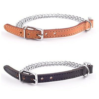 "Leather 2 Row Chain Dog Collar Ancol Heritage Medium Puppy 35cm-14"" or 40cm-16"""