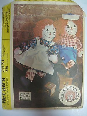 VINTAGE MCCALL\'S 8551 RAGGEDY ANN & ANDY Doll Pattern COMPLETE ...