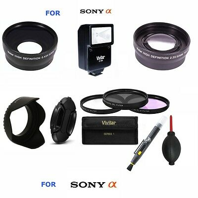 Flash + Wide Angle Lens + Telephoto Zoom Lens + Filter Kit For Sony Alpha A99V