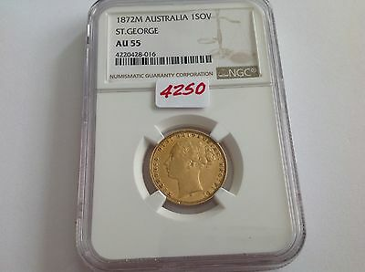 1872M Australia Gold Sovereign NGC AU 55 St George