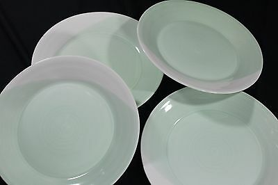 "ROYAL DOULTON 1815 ENGLAND Four 9.5"" GREEN Salad Luncheon PLATES"