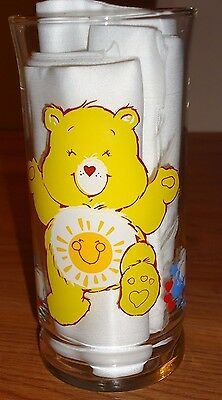 "Vintage Care Bears FUNSHINE BEAR Pizza Hut Promotional 6"" Drinking Glass 1983"