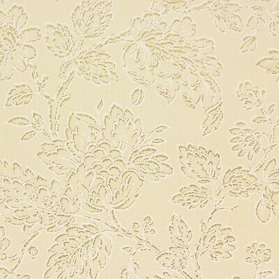 1930's Rare Antique Vintage Wallpaper Large Flowers Gold Metallic Accents Beige