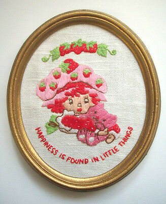 Strawberry Shortcake hand embroidered Happiness is Found in Little Things frame