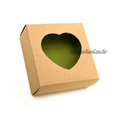 40 Soap Candle Candy Boxes Packaging Kraft W/Heart