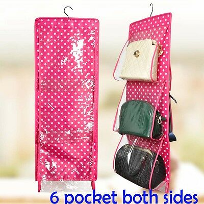 6 Pocket Hanging Holder Organiser Storage Rack for Door Wall Closet for Bag Shoe